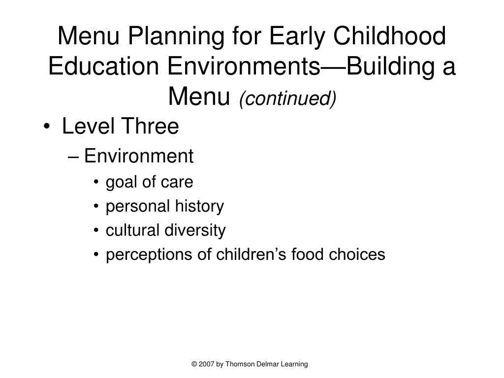 Menu Planning for Early Childhood Education Environments