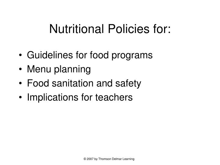Nutritional policies for