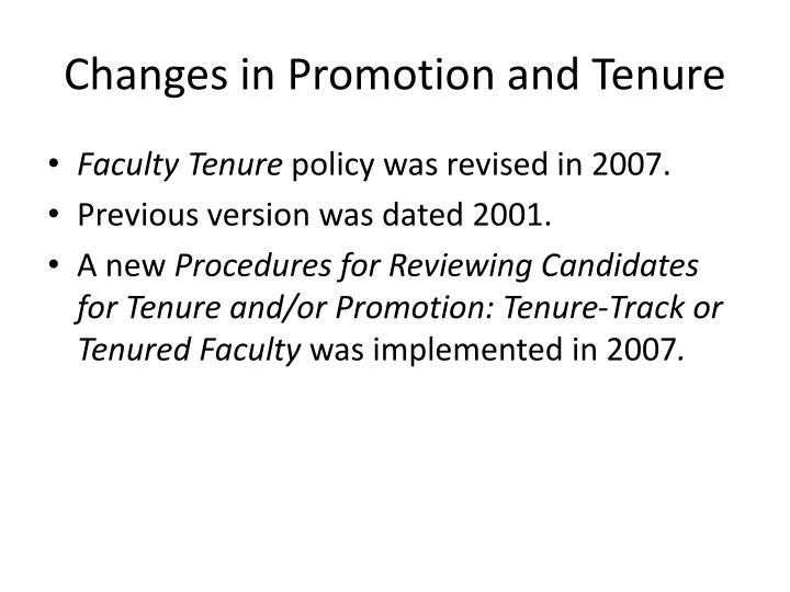 Changes in promotion and tenure