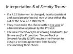 interpretation 6 of faculty tenure
