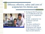efficacy effective safety and costs of acupuncture for chronic pain