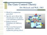 the gate control theory drs melzack and wall 1965