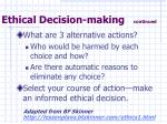 ethical decision making continued