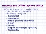 importance of workplace ethics