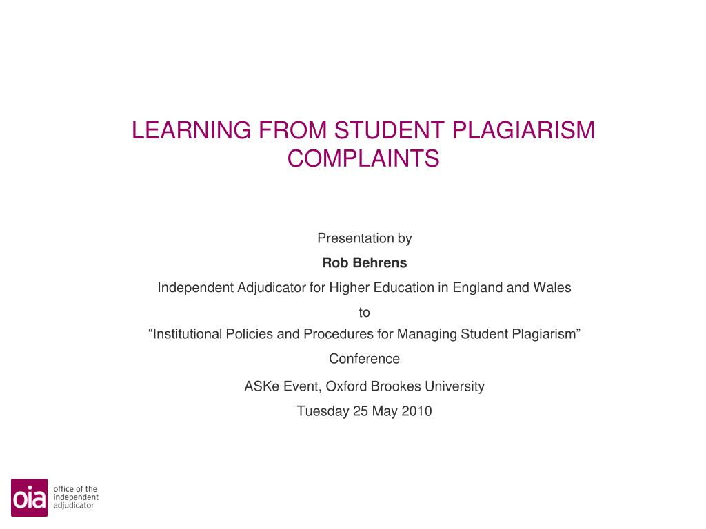 learning from student plagiarism complaints l.