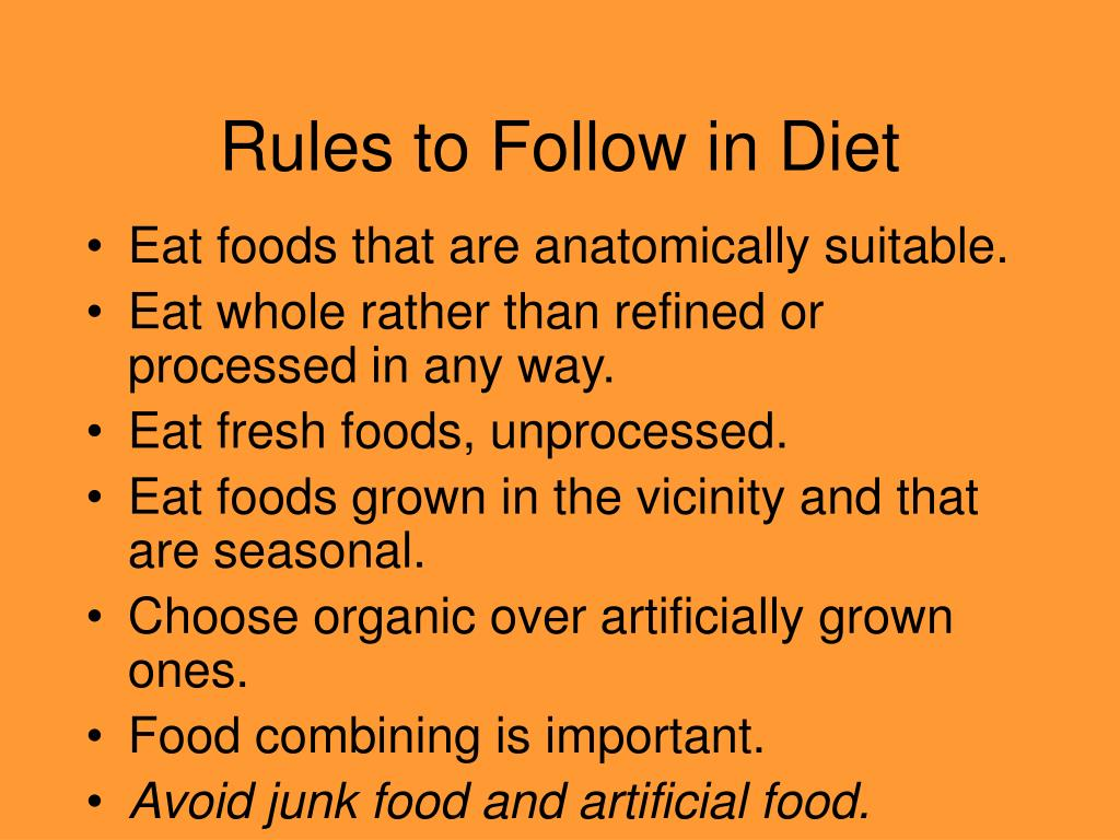 Rules to Follow in Diet