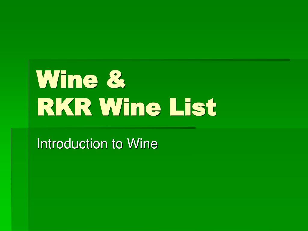 wine rkr wine list l.