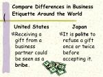 compare differences in business etiquette around the world
