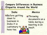 compare differences in business etiquette around the world14
