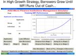 in high growth strategy borrowers grow until mfi runs out of cash