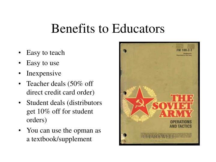 Benefits to Educators