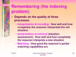 remembering the indexing problem
