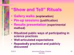 show and tell rituals