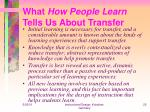 what how people learn tells us about transfer