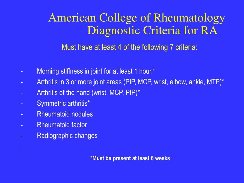 American College of Rheumatology               Diagnostic Criteria for RA
