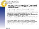 industry adviser in support unit in ho software and services