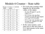 modulo 6 counter state table