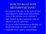 how to read sufi metaphysicians