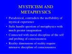 mysticism and metaphysics
