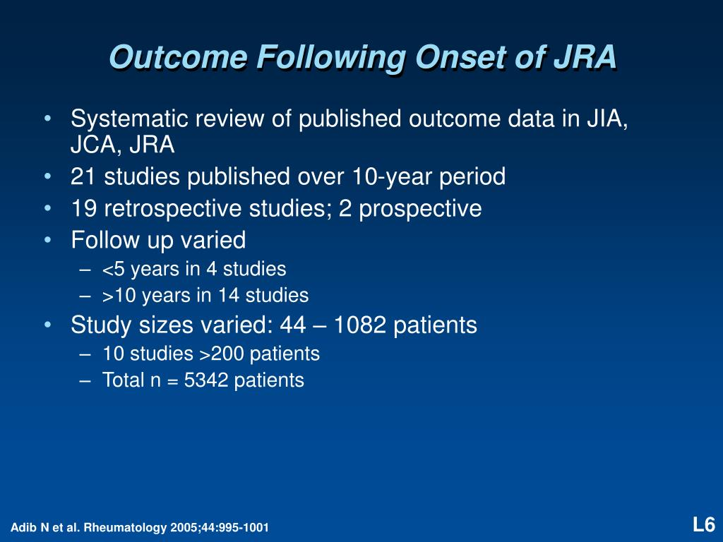 Outcome Following Onset of JRA