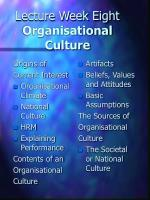 lecture week eight organisational culture