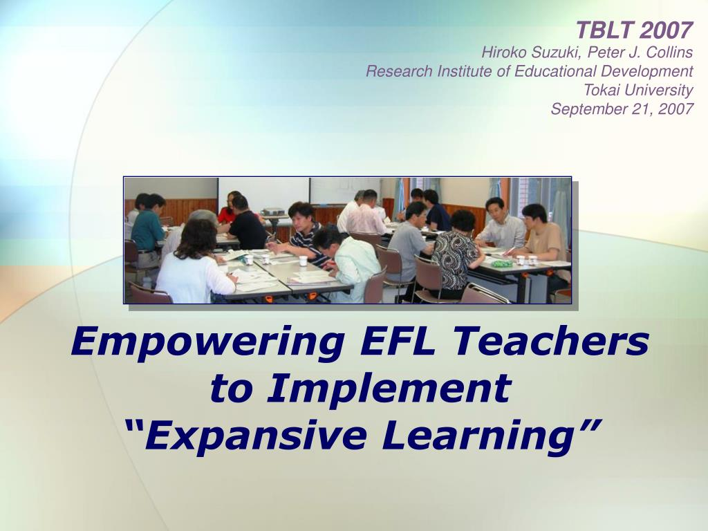 empowering efl teachers to implement expansive learning l.