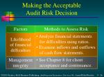 making the acceptable audit risk decision26
