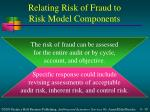 relating risk of fraud to risk model components
