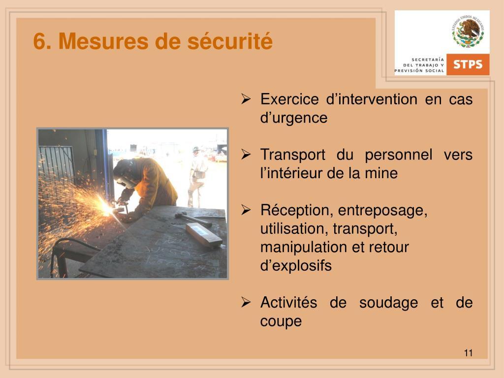 6. Mesures de sécurité