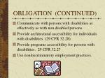 obligation continued
