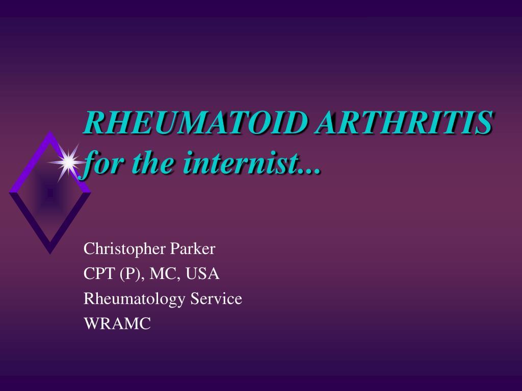 rheumatoid arthritis for the internist l.