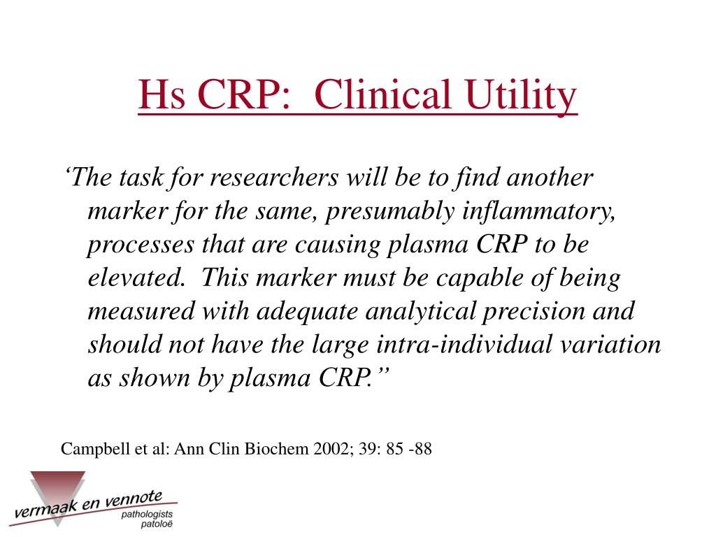 Hs CRP:  Clinical Utility