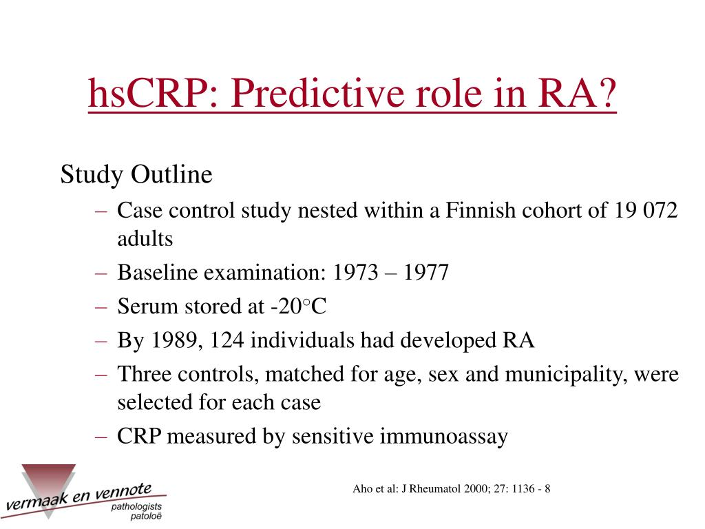 hsCRP: Predictive role in RA?