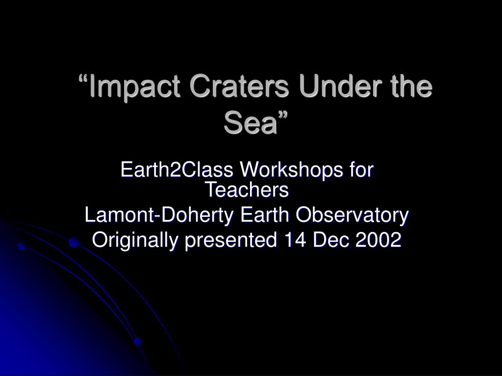impact craters under the sea l.