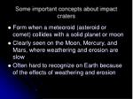 some important concepts about impact craters