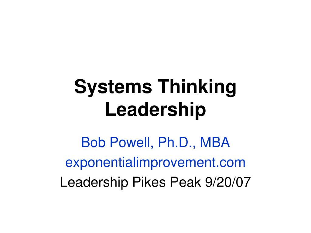 systems thinking leadership l.