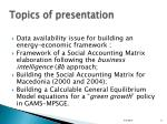 topics of presentation