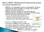what is mpsge mathematical programming system for general equilibrium