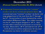 december 2013 forecast issued november 20 2013 actual