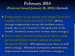 february 2014 forecast issued january 28 2014 actual