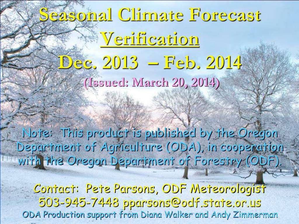 seasonal climate forecast verification dec 2013 feb 2014 issued march 20 2014 l.
