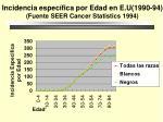 incidencia espec fica por edad en e u 1990 94 fuente seer cancer statistics 1994