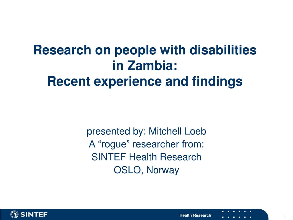 research on people with disabilities in zambia recent experience and findings l.