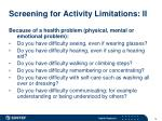 screening for activity limitations ii
