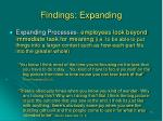 findings expanding