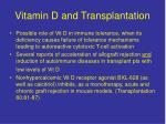 vitamin d and transplantation