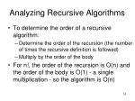 analyzing recursive algorithms