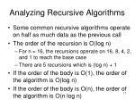 analyzing recursive algorithms17