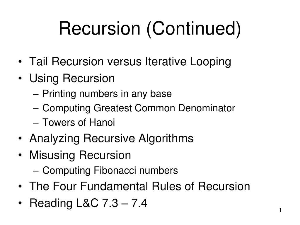 recursion continued l.