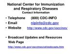 national center for immunization and respiratory diseases contact information